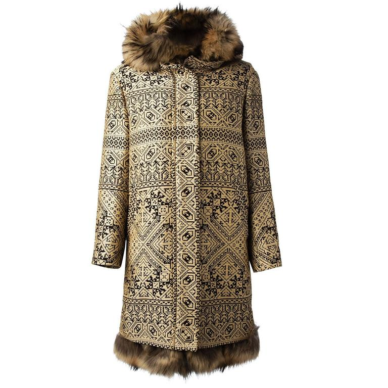 New ETRO Jacquared Detachable Fur Rabbit Lining Raccoon Hooded Beige Coat