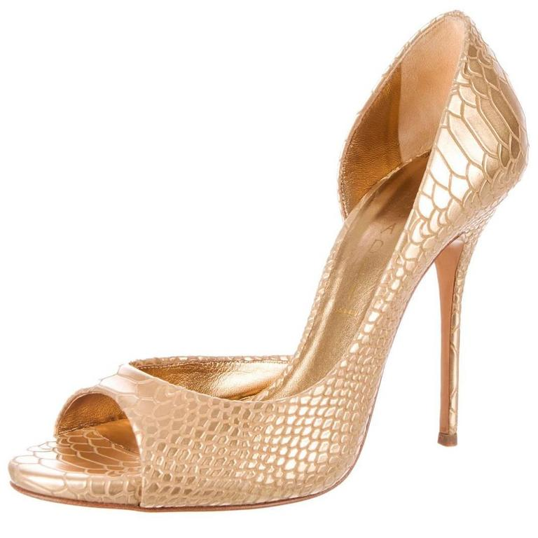New Casadei Leather Snake Embossed Gold D'Orsay Pumps Spike Heel Shoes size 7 1