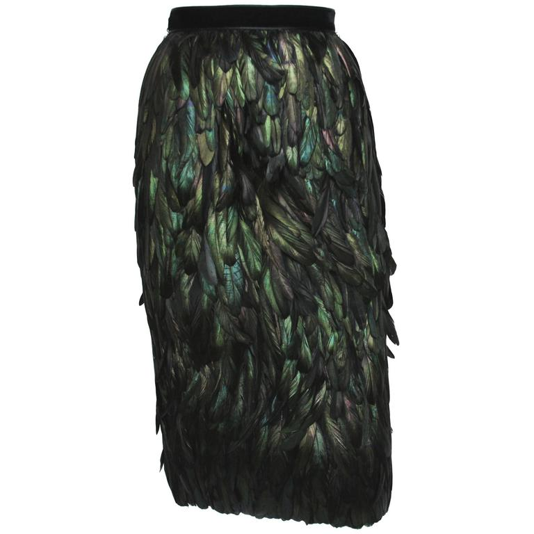 Gucci Runway Silk Feather Dark Green Exotic Skirt 40 - 4 1