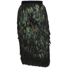Gucci Runway Silk Feather Dark Green Exotic Skirt 40 - 4