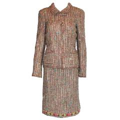 Gorgeous Chanel Multicolor Fringed Fantasy Lesange Sequin Tweed Skirt Suit