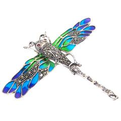 Silver Dragonfly Brooch Art Nouveau Pic A Jour Style