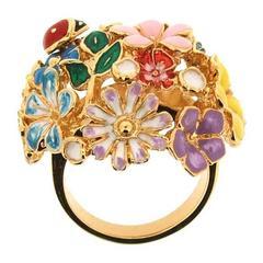 Floral Orb Ring Enamel Flowers By Bill Skinner