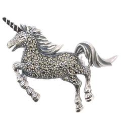 Silver Unicorn Brooch with marcasite