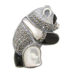 Silver Panda Brooch with Mother of Pearl & Onyx