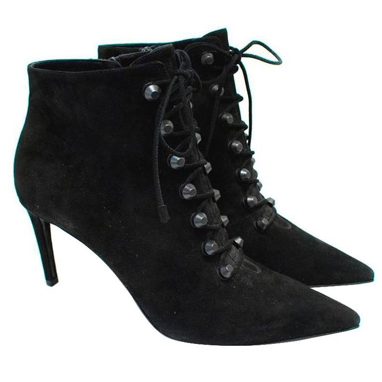78cab1f0b835 Balenciaga Black Suede Heeled Ankle Boots For Sale at 1stdibs