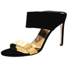 Stuart Weitzman Black Suede and Gold Sandals Sz 10