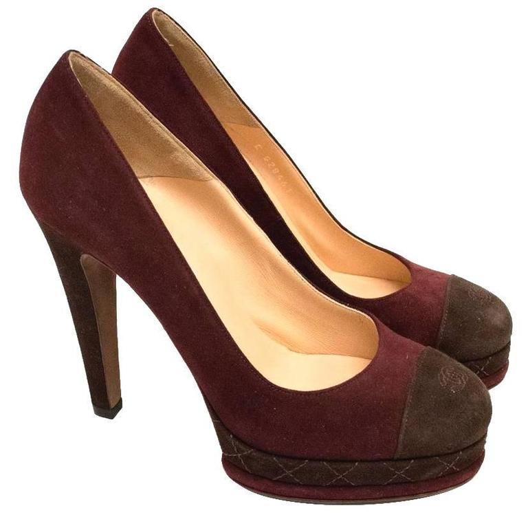 Chanel Burgundy And Brown Round Toe Suede Heels 1