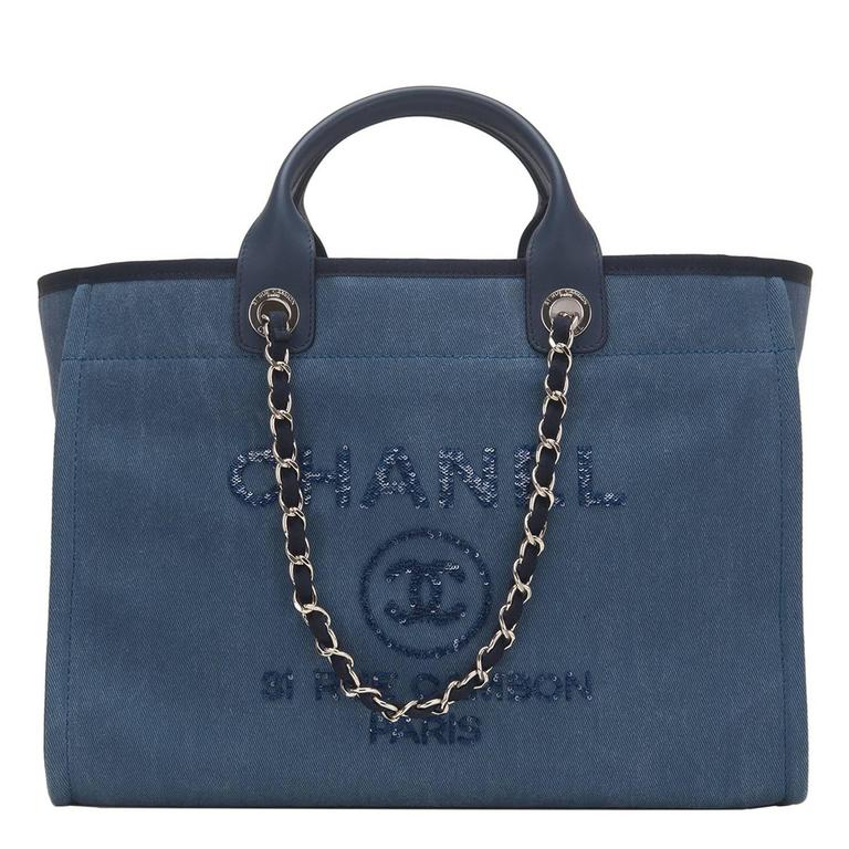 Chanel Large Navy Canvas With Sequins Deauville Tote For Sale