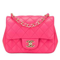 Chanel Fuchsia Quilted Lambskin Square Mini Flap Bag