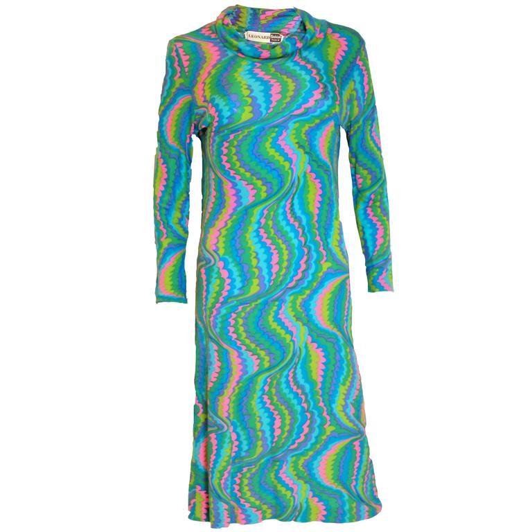 Vintage Leonard Paris Silk Jersey Dress For