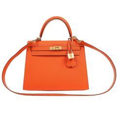 Hermès Feu Epsom 25 cm Kelly Sellier with GHW