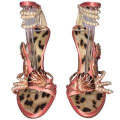 Roberto Cavalli Crystal Seashell Embellished Pearl Anklet Stiletto Heels 39