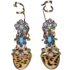 Roberto Cavalli Turquoise Stone Crystal Embellished Stiletto Heels 38