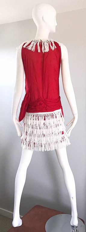 Rare 1960s Does 1920 Red White Fringe Cotton Drop Waist
