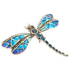 Silver Dragonfly Brooch Pendant Pic a Jour Enamel