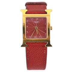 Hermes Red Heure H MM Watch with Extra Rouge H Band Strap