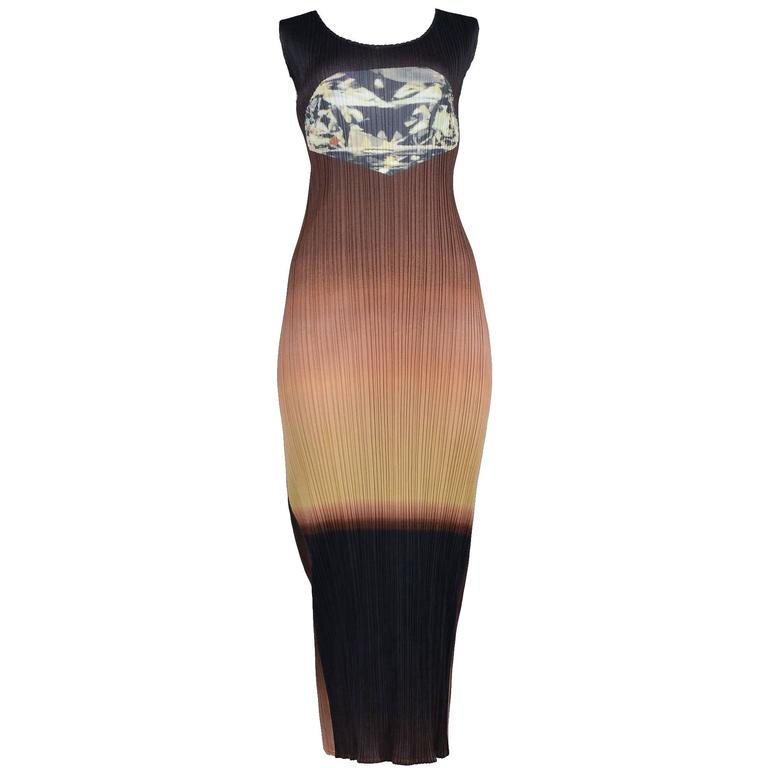 Issey Miyake Pleated Diamond Ombre Dress