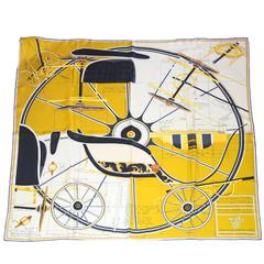 Hermes Yellow Project de Voiture Petit-Duc Bateau 90cm Silk Scarf