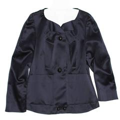 Chloe' Navy Silk Satin Jacket