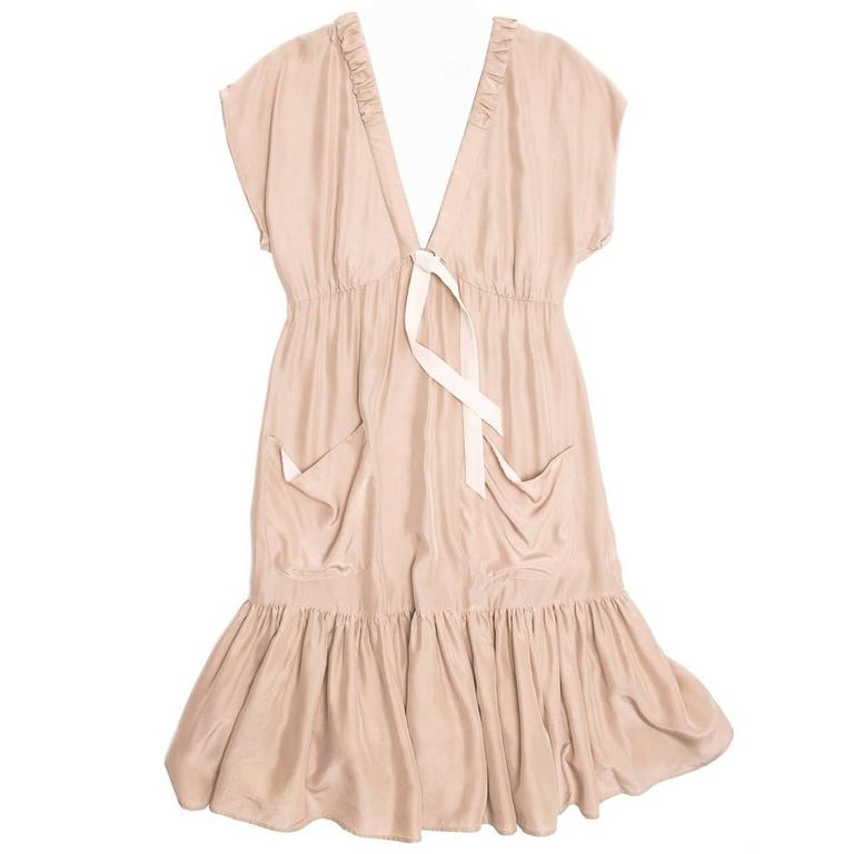 Fendi Taupe Silk Crepe Dress
