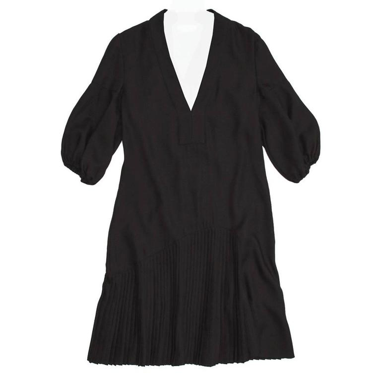 Givenchy Black Wool Pleated Dress For Sale
