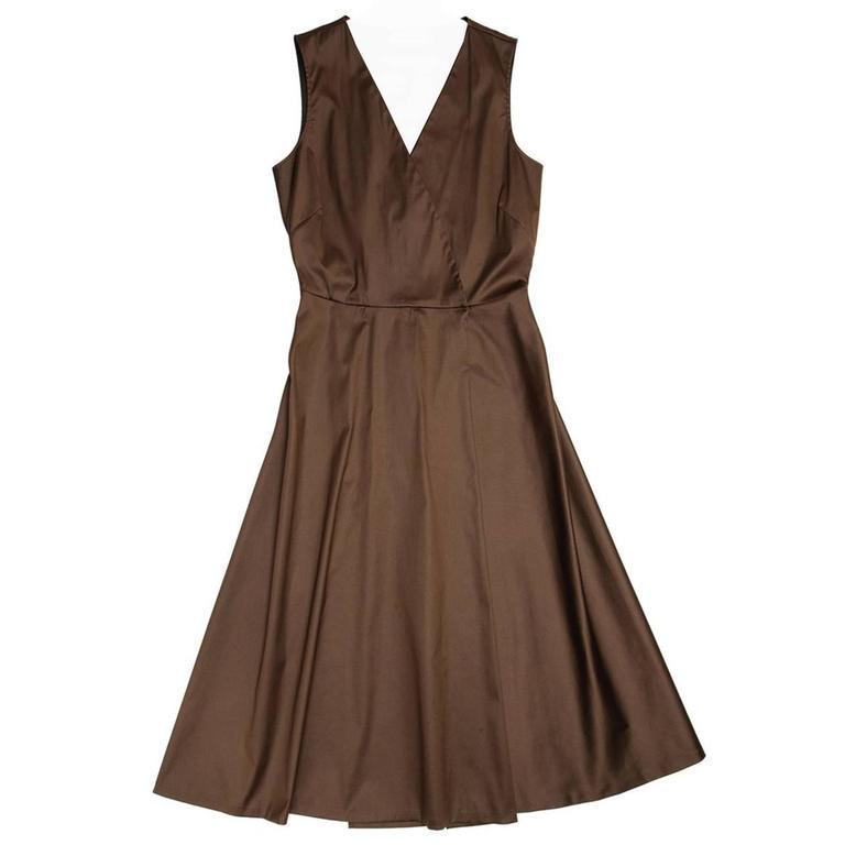Jil Sander Brown Cotton Sleeveless Wrap Dress