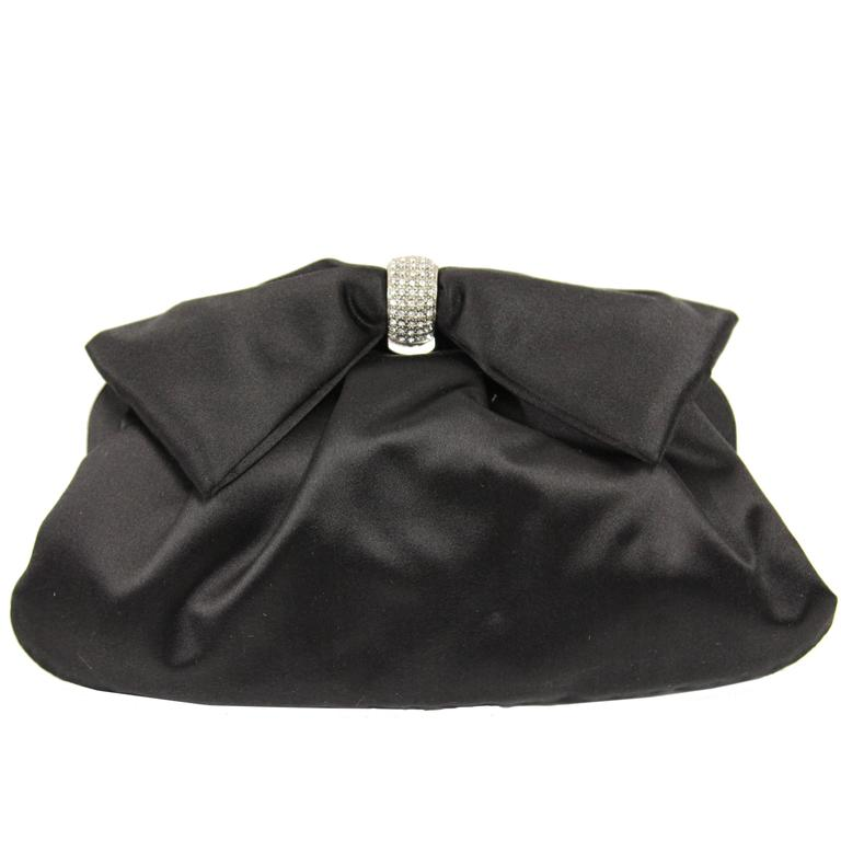 2000s Valentino Black Satin Silk Clutch