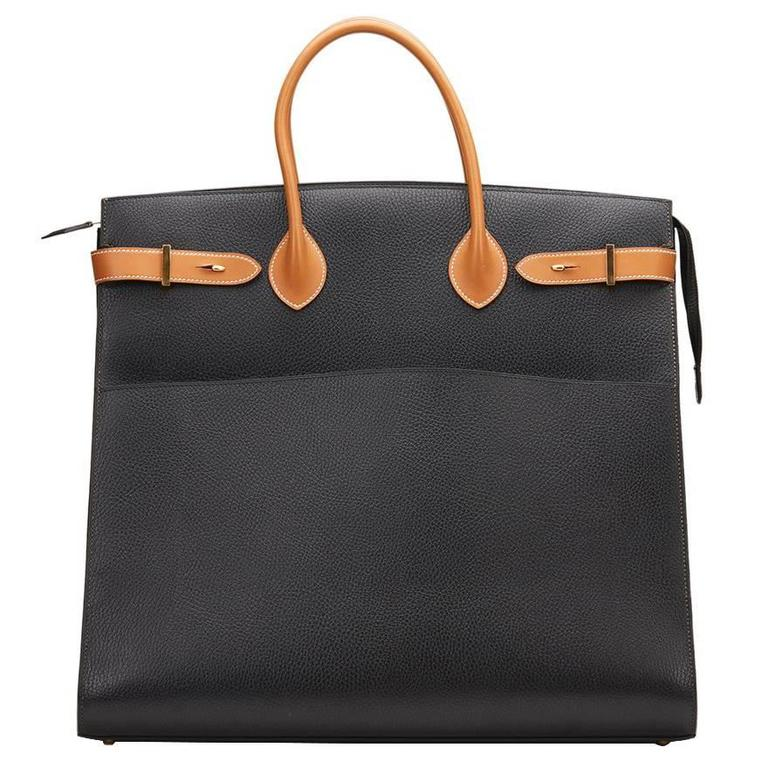1994 Hermes Black Ardennes Leather & Brown Natural Leather Vintage Airport Bag For Sale