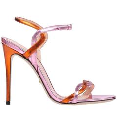 Gucci Pink Orange Metallic Strappy Evening Sandals Heels