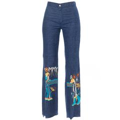 """1970s The Who """"Tommy"""" Embroidered Jeans"""