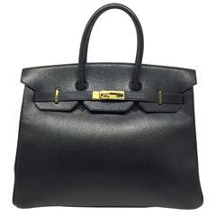 Hermes Birkin 35 Noir Black Ardenne Leather GHW Top Handle Bag