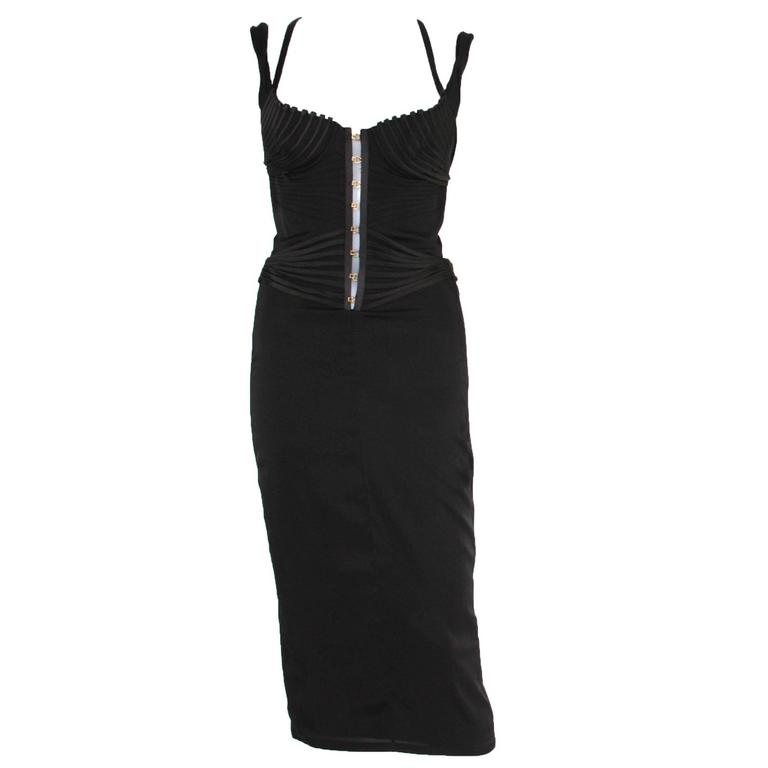 Tom Ford for Gucci 2003 Collection Silk Corset Top Cocktail Dress 40