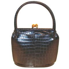 Nettie Rosenstein Sculptural Black Alligator Handbag Gutsy Clasp