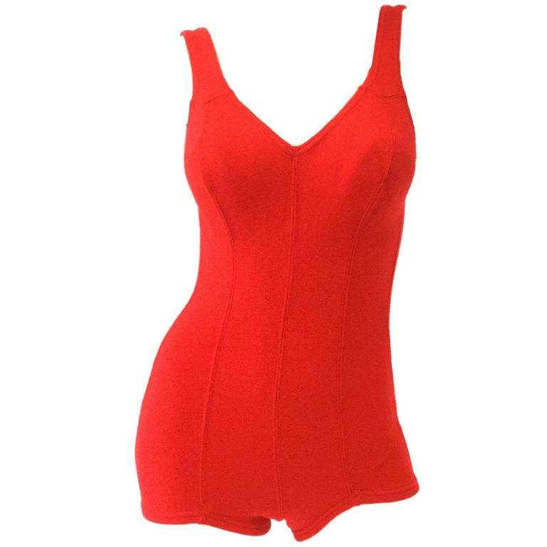 1960s DeWeese Candy Red Wool Knit One Piece Swimsuit