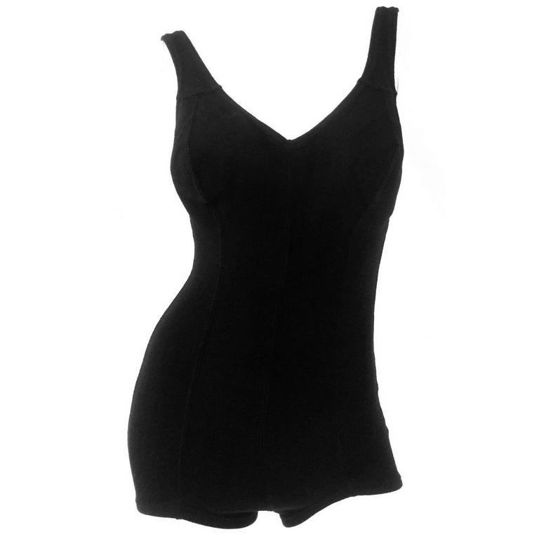 1960s DeWeese Black Knit One Piece Swimsuit