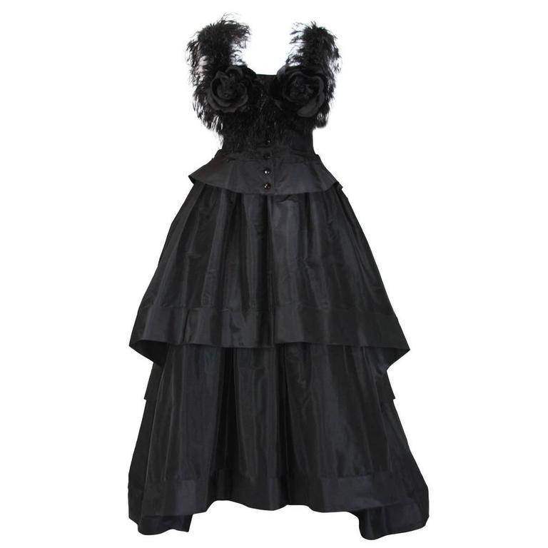 Valentino Boutique 80's Silk Taffeta Feathers Black Gown