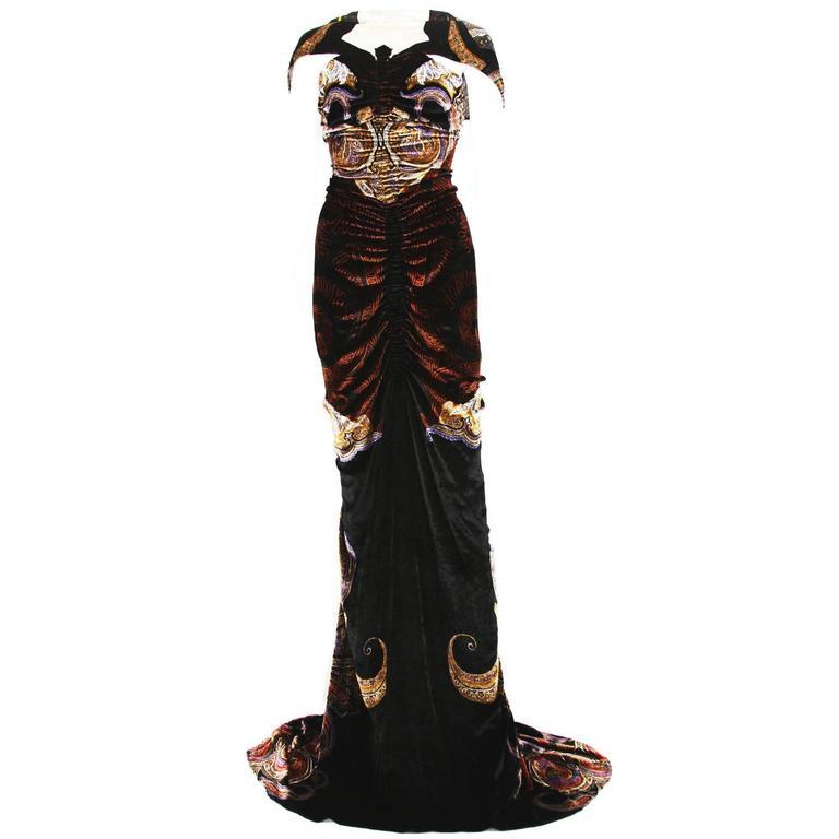 sale retailer 5525f 7c08d New Etro Runway Red Carpet Velvet Print Dress Gown 40