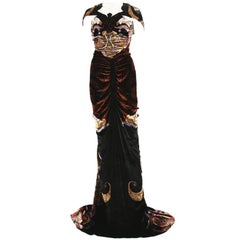 New Etro Runway Red Carpet Velvet Print Dress Gown 40