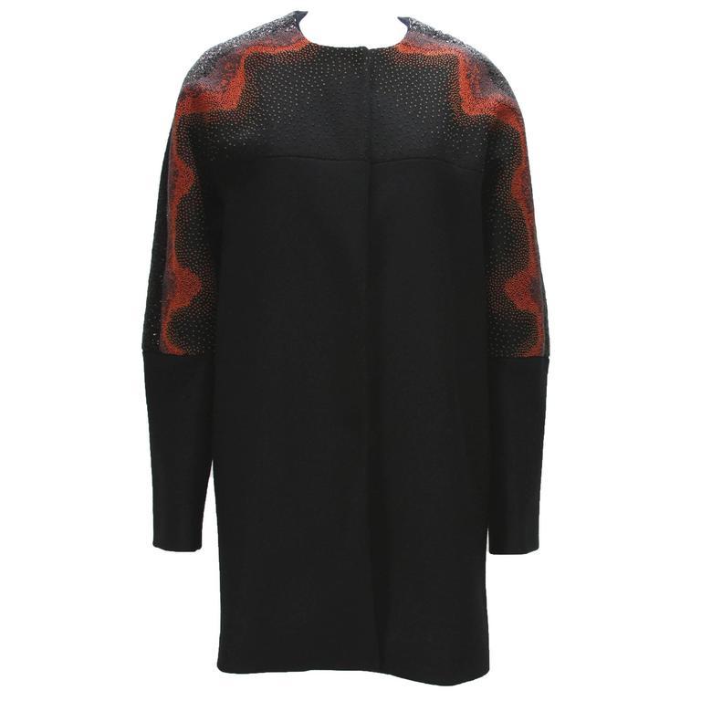 New Etro Runway Micro-Beaded Wool Black Orange Coat