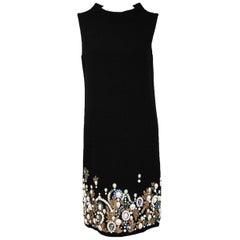 Oscar De La Renta Black Wool Cocktail Dress with Gem Embroidery