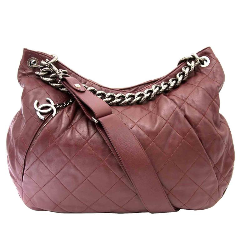 Chanel Burgundy Hobo Bag For Sale at 1stdibs