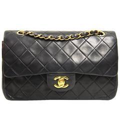 1990s 2.55 Chanel Black Lamb Skin Bag