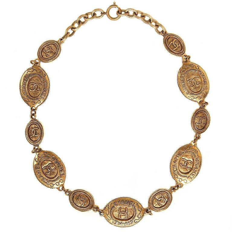 Chanel Oval Coin Necklace For Sale
