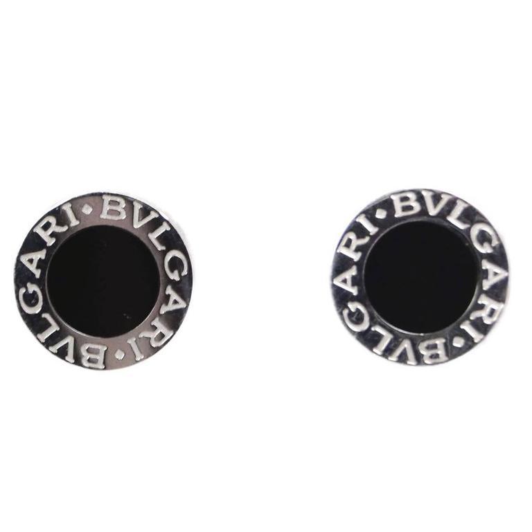 Bvlgari Bulgari Bb 18k And Onyx Stud Earrings With Box For