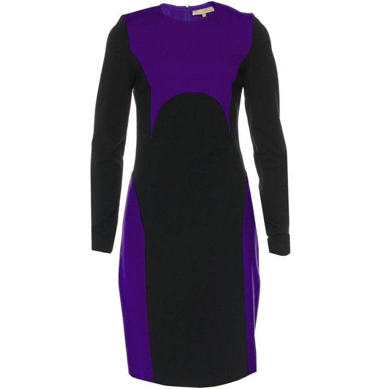 Michael Kors Purple & Black Sheath Dress sz US8 For Sale