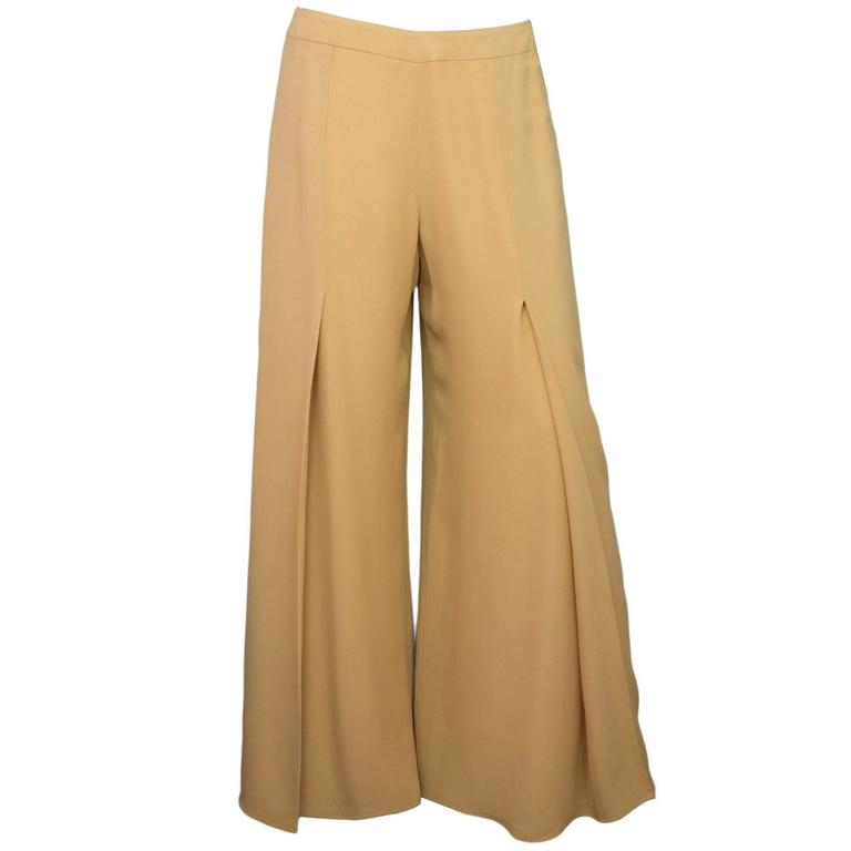 Carolina Herrera Tan Wide Leg Parachute Pants sz US10 1