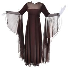 Vintage Estevez Brown Chiffon Dress Statement Sleeves Ethereal Style Maxi