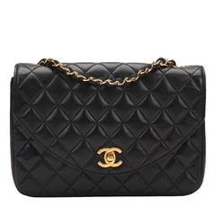 1980s Chanel Black Quilted Lambskin Vintage Classic Single Flap Bag