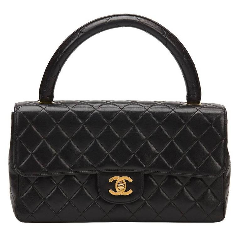 1990s Chanel Black Quilted Lambskin Vintage Timeless Kelly For Sale